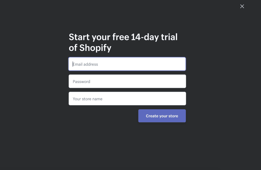 Shopify trial signup page