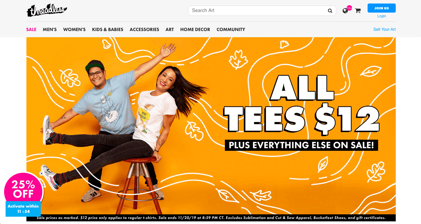 Threadless homepage